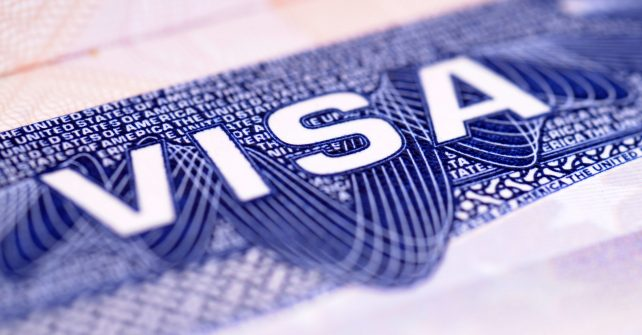 Closeup detail of a US visa document.